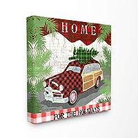 The Stupell Homeインテリアコレクションホリデーチェック柄ギンガムチェック模様のワゴン、木張りキャンバスウォールアート、マルチカラー