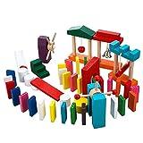 T-PRO 木製 ドミノ 倒し おもちゃ ギミック 階段 仕掛け 木 子供 幼児 小学生 3歳 1歳 知育 玩具 立体 ピタゴラ カラフル 牌 【全12色× 100個 (44×21×7mm) 】 (ドミノのみ100個追加用)