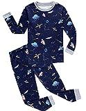 Babyfashion 綿100% 子供パジャマ ルームウェア キッズ  女の子 男の子 上下セット 宇宙船柄  長袖  寝巻き ボーイズ ガール 女児 男児 ベビー  2-9歳 (6歳, 濃紺2)