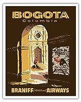 ボゴタ、コロンビア - プラザデトロス - 闘牛アリーナ - ブラニフ 国際気道 - ビンテージな航空会社のポスター c.1957 - アートポスター - 41cm x 51cm