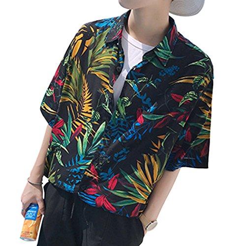 SemiAugust(セミオーガスト)メンズ 半袖 アロハシャツ カジュアル 海 花柄 シャツ ハワイ風 ワイシャツ 通気 吸汗速乾 プリントシャツ 海 旅行 夏 (ブラック XL)