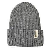 (トライバル)TRIBAL ふんわり柔らかフィット ラベル付きリブ編みニット帽 グレー