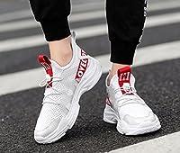 メンズ軽量カジュアルシューズラージサイズサマーメンズシューズマラソンランニングシューズ学生用メッシュ通気性ランニングシューズメンズワイルドショックアブソーバースポーツシューズ (色 : 赤, サイズ : 42)