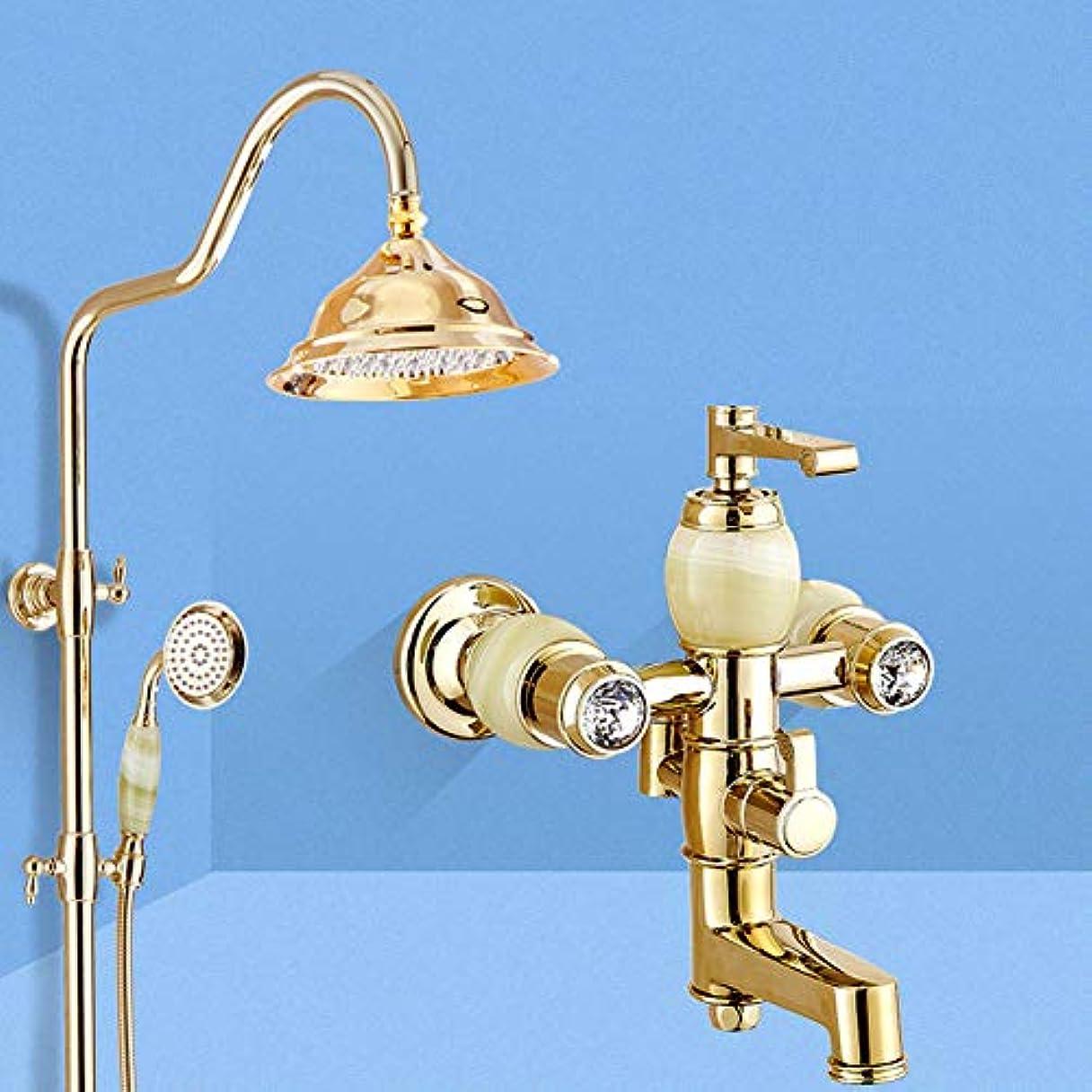 提案する寝る紳士気取りの、きざなシャワーシステム、アンティークブラスシャワーの蛇口セット銅のシャワーヘッドゴールデンシャワーセットジェイドシャワー304シャワーハンドシャワーヘッドバスシャワーの蛇口