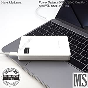 USB-C USB PD:Power Delivery Power Supply (Portable, White) DC 5V/9V/15V/20V 3A