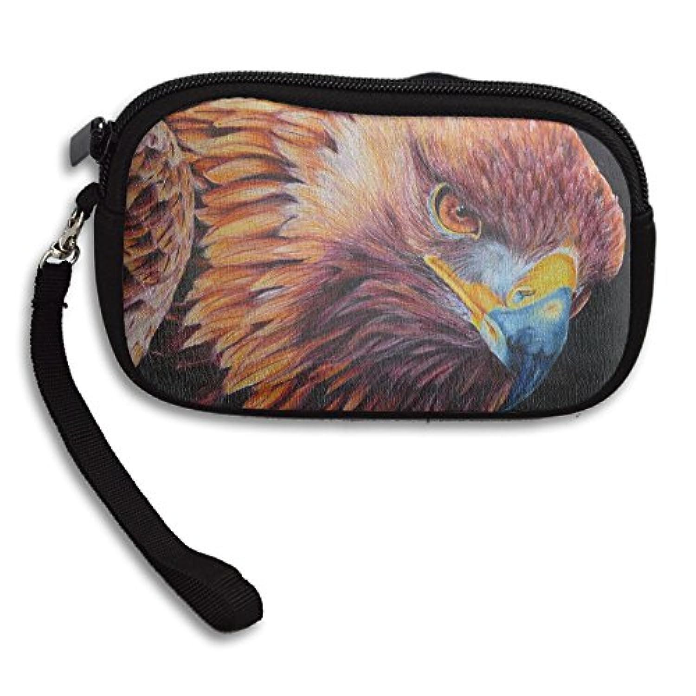 robotdayupup Sharp Eye Golden Eagle Colored図面リストレットクラッチバッグハンドバッグジッパー財布Wallet withストラップ