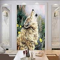 Wuyyii カスタム写真壁紙ハウリングオオカミ絵画壁画リビングルームホテルショッピングモールオフィス壁紙家の装飾-350X250Cm