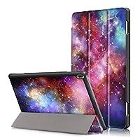 【万屋】Lenovo Tab 4 10 三つ折りケース 全面保護 全12色 高級PUレザー 手帳型ケース マグネット自動吸着 Lenovo Tab 4 10 スタンド機能付き スリープ喚起機能付き 超薄 取り付け易いカバー (Lenovo Tab 4 10, 宇宙)