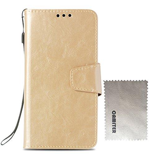 Samsung Galaxy S4 ケース 手帳型 Galaxy S4 カバー Camiter 高品質 PU合皮レザー カード収納 スタンド機能 マグネット式 財布型 フリップカバー 耐衝撃 高級感 おしゃれ (ゴールド)