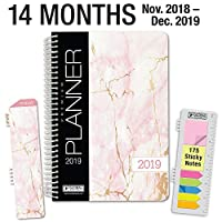 "HARDCOVER Calendar Year 2019 Planner: (November 2018 Through December 2019) 5.5""x8"" Daily Weekly Monthly Planner Yearly Agenda. Bonus Bookmark,Pocket Folder and Sticky Note Set (Pink Marble) [並行輸入品]"
