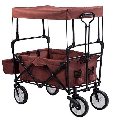 (OSJ)キャリーカート フォールディングキャリーワゴン アウトドアワゴン 大型ノーパンクラバータイヤ 容量 約90L 積載重量 約100kg (ブラウン(幌付き))