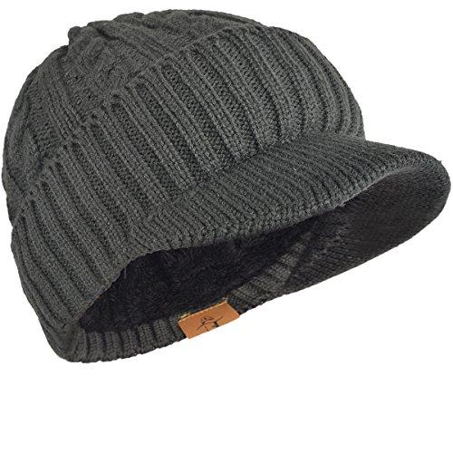 FORBUSITE つば付きニット帽 メンズ レディース ニット帽 裏起毛 防寒 厚手 B322 (新柄グレー)