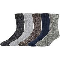 5 Pack Men's Soft Warm Thick Knit Wool Cozy Crew Socks Casual Fall Winter Striped Socks
