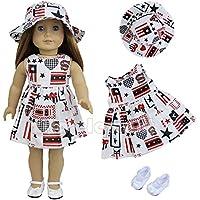 ZITA ELEMENT アメリカガールドール用服 きせかえセット アメリカデーセット 帽子+ドレス+靴 1/4サイズドール適用