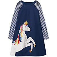 VIKITA Baby Girls Clothes Cotton Long Sleeve Girls Dresses for 2-8 Years Kids