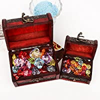 MeRaPhy ) 海賊 木製 宝箱 大 小 2個 セット 子供 おもちゃ 精巧 クリスタル ビーズ 風 宝石 付き 貯金箱等にも