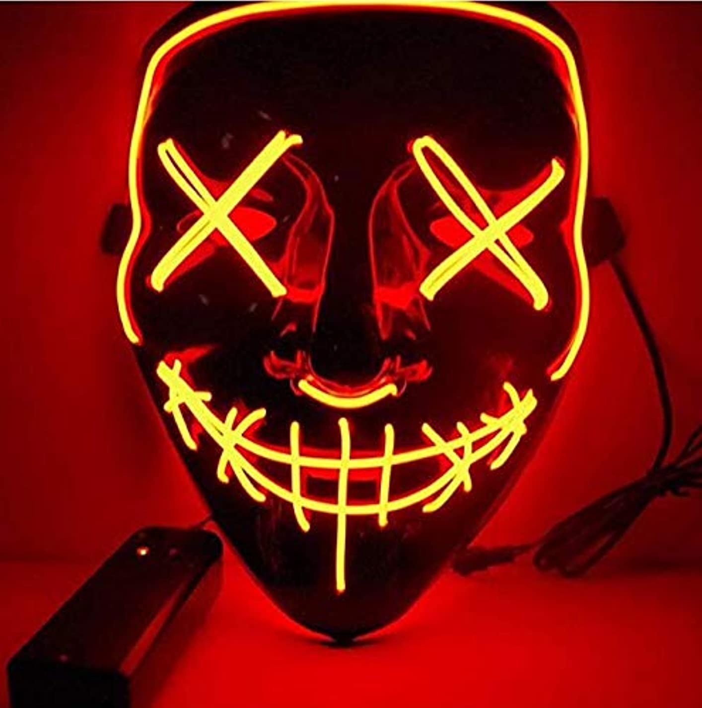蒸留するハリウッド腹ハロウィンマスクLEDライトアップパーティーマスクコスプレコスチュームサプライ暗闇で光る (Color : ROSE RED)