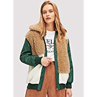 INFASHION Women's Multicolor Casual Color Block Padded Teddy Jacket with Colorblock, Zipp