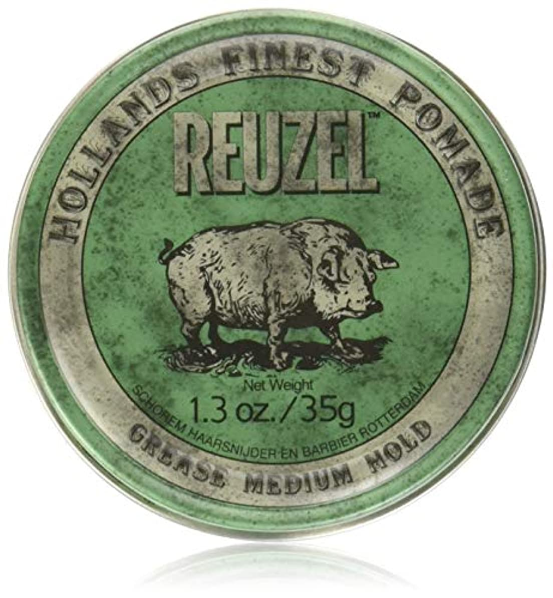 スラムレース金銭的REUZEL Grease Hold Hair Styling Pomade Piglet Wax/Gel, Medium, Green, 1.3 oz, 35g by REUZEL