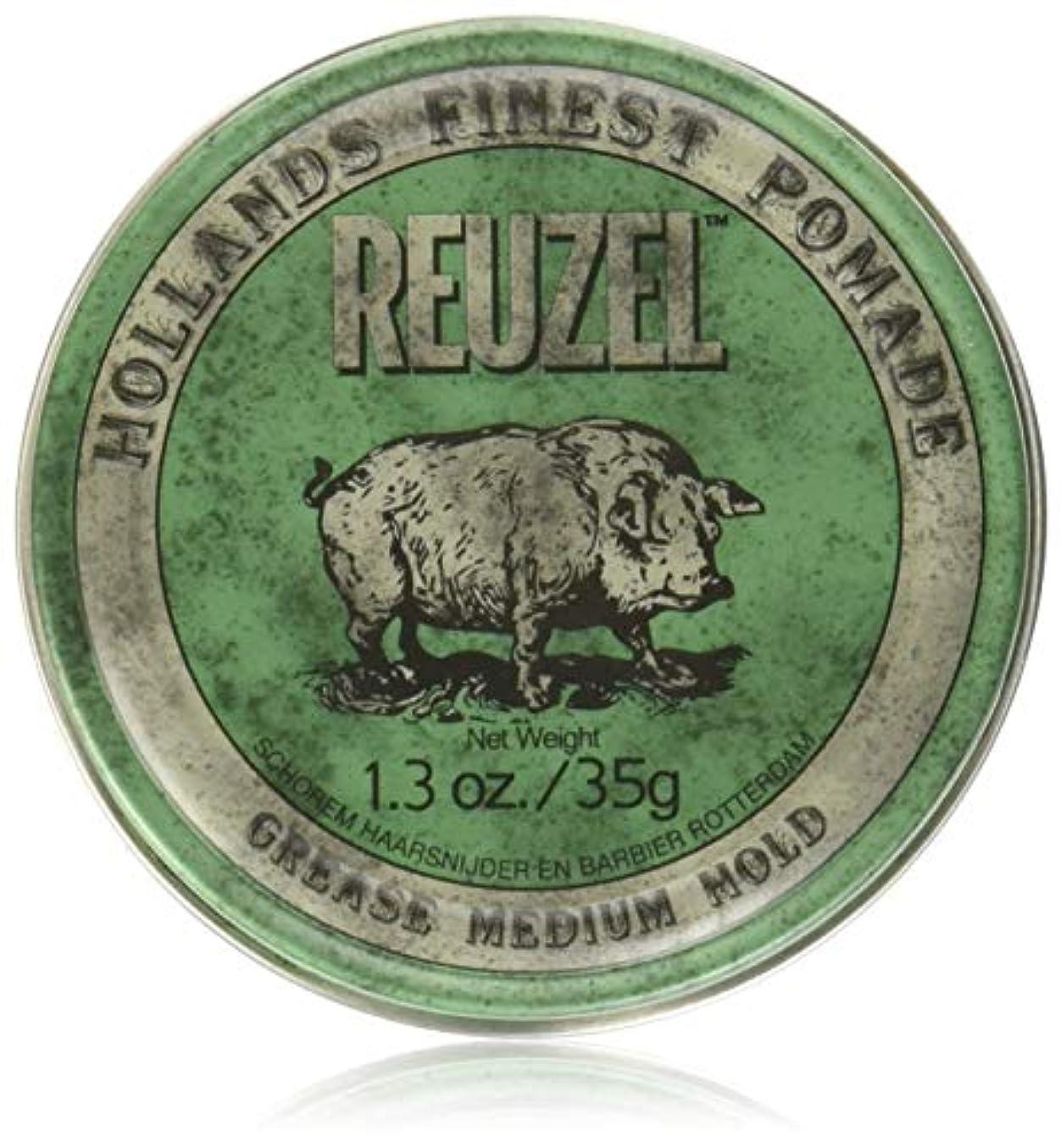 バッグガソリンREUZEL Grease Hold Hair Styling Pomade Piglet Wax/Gel, Medium, Green, 1.3 oz, 35g by REUZEL