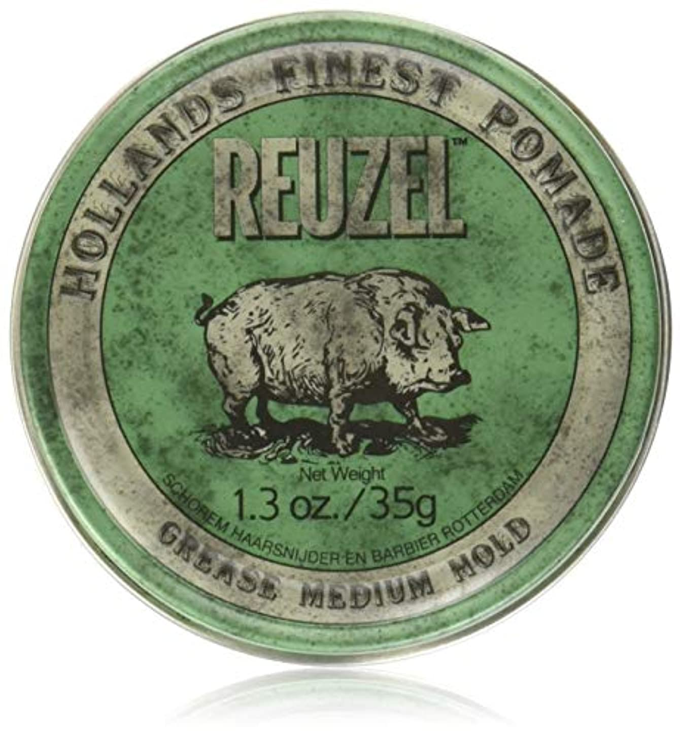 ストライプオーロックもろいREUZEL Grease Hold Hair Styling Pomade Piglet Wax/Gel, Medium, Green, 1.3 oz, 35g by REUZEL