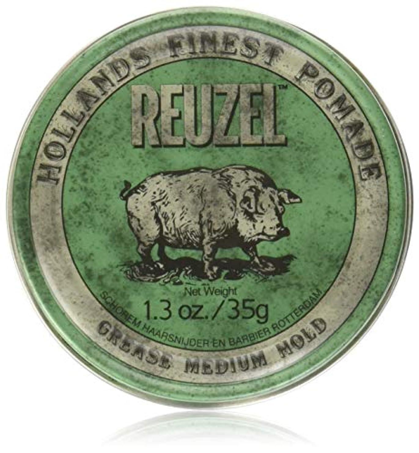 モザイク拮抗召喚するREUZEL Grease Hold Hair Styling Pomade Piglet Wax/Gel, Medium, Green, 1.3 oz, 35g by REUZEL
