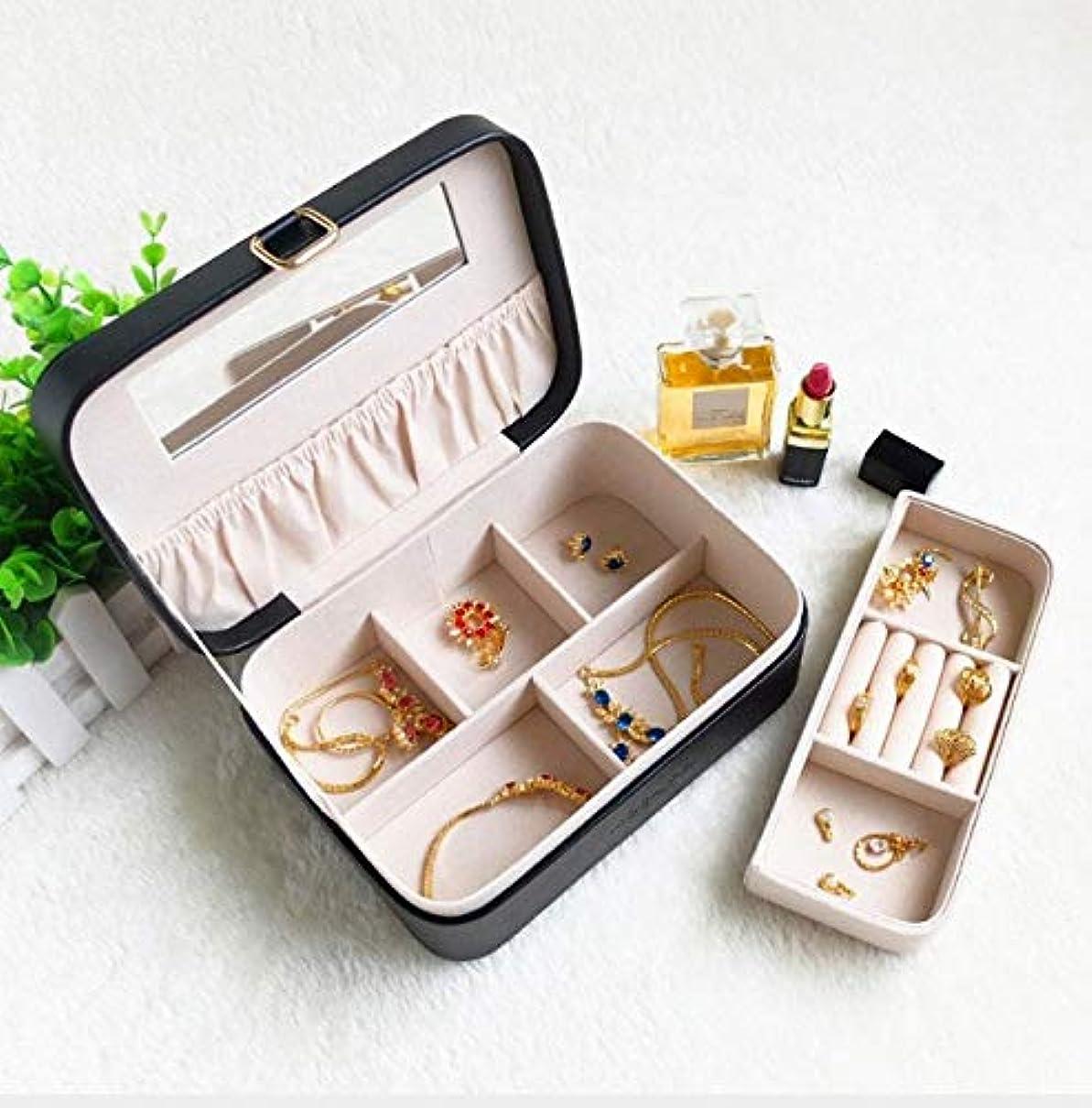 博物館一口女性化粧箱、レトロ化粧品防水ミラー化粧ケース、ポータブルトラベル化粧品バッグ収納袋、美容ジュエリー収納ボックス (Color : ブラック)