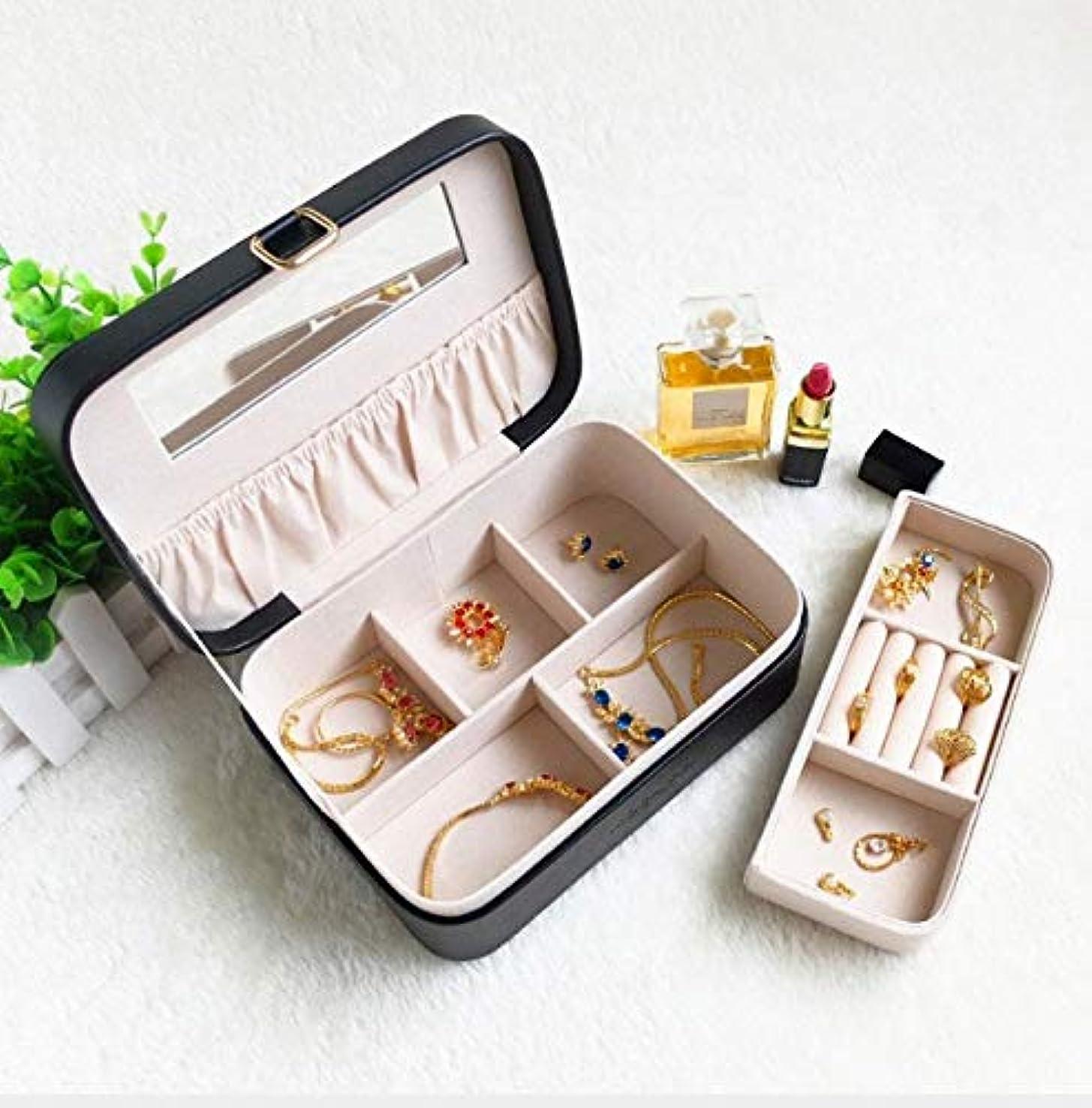 化粧箱、レトロ化粧品防水ミラー化粧ケース、ポータブルトラベル化粧品バッグ収納袋、美容ジュエリー収納ボックス (Color : ブラック)