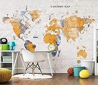 Minyose 3D写真の壁紙手描きのヴィンテージ古美術地図壁画寝室リビングルームのソファテレビの背景の壁3Dの壁紙-200cmx140cm