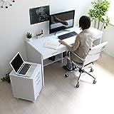 送料無料 パソコンデスク 書斎机 システムデスク 150cm幅 システムデスク2点セット デスク+チェスト ホワイト TIP0320DCWH