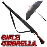頑丈です ライフル 傘 かさ 銃 ライフル アンブレラ ウッド調ストック 傘 刀 引き金をひくと傘が開く!