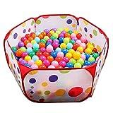 (イークスン) EocuSun 子供用  ボールハウス ボールプール ボール プレイハウス 子供部屋 おもちゃ 玩具 室内遊具 収納バッグ付き (レッド)