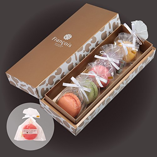 リボン付 マカロン 5個入 手提げ紙袋付き 個包装 天使がくれたマカロン お菓子 プチギフト ギフト