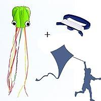 y-box Octopus Kite with D形状WinderボードセットビーチスポーツToys for Kidsアウトドア活動 グリーン AEGH-6578