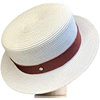 Melniko City Women's Straw Boater Hat Roaring 20s Retro Sunhat