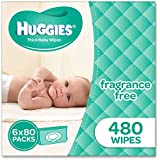 Huggies Fragrance Free Baby Wipes Bundle Pack (Pack of 480), 480 Wipes (6 x 80 Pack)