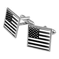 控えめなアメリカのアメリカの旗黒い白軍の戦術スクエアカフリンクセットシルバーカラー