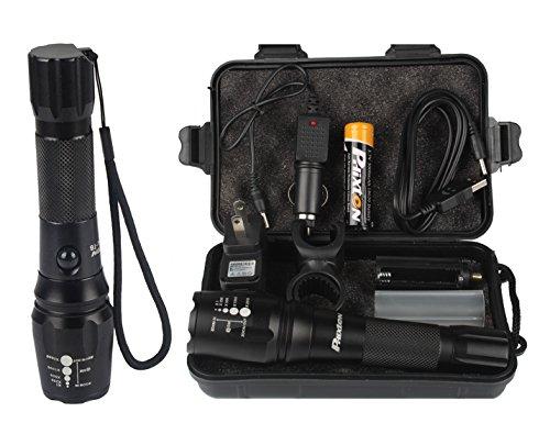 Phixton USB充電式懐中電灯 - アウトドア XML T6 LED トーチ 1200ルーメン アルミ 調節可能な焦点距離ズーム式 5モード防水 18650電池充電器