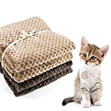 Kooyi ペット 犬 猫 用 ブランケット 毛布 布団 マット タオル ソフト フランネル 無地 暖かい 洗える 2枚セット(70x100cm, カーキ&ブラウン)