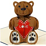 Love Bear - 3D Popup Greeting Card, Love Card, Anniversary Card, Romantic Birthday Cards, Christmas Cards, Sympathy Cards (Red)