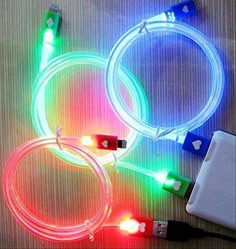 iPhone6 iPhone5 ipad ipadmini 充電器 ライトニング 充電ケーブル 光る LED Lightning USB アイフォン6 アイフォン5 アイパッド アイパッドミニ 選べるカラー (2色セット:ブルー×レッド) -
