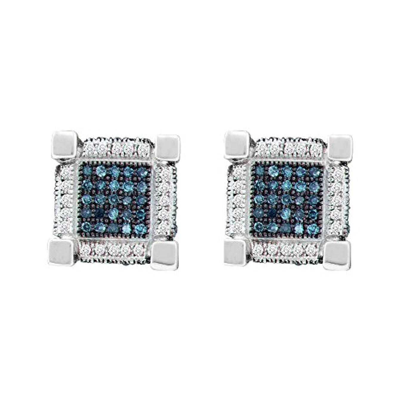 決して芝生バスケットボール10 KTホワイトゴールドメンズラウンドブルー色Enhancedダイヤモンド3dキューブ正方形イヤリング3 / 4カラット