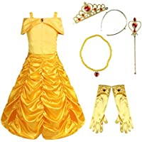 FEESHOW Kids Girls Off Shoulder Princess Belle Yellow Party Costume Dress-Up Set