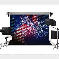 アメリカ国旗 パイロテクニック 背景 写真 背景 退役軍人 メモリアルデー ナショナルデー 写真装飾 9x6フィート STS
