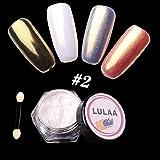Niome 7 Color Mirror Effect Nail Glitter 1 Box Powder Shell Chrome Pigment Nail Art Decorations 2#