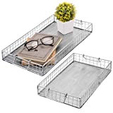 MyGift Silver Galvanized Metal Wire Nesting Serving Trays with Handles, Set of 2