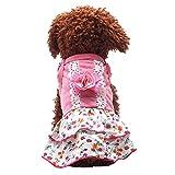 Karchi 子犬の服のスカート 結び花のレースのペットの王女の服のスカート 子犬服 パーカー ドッグウェア 犬洋服 ダブルキルト綿 フード付き コート 可愛い ペット用品 散歩 犬猫用(サイズ:XS S M L XL) (XL)