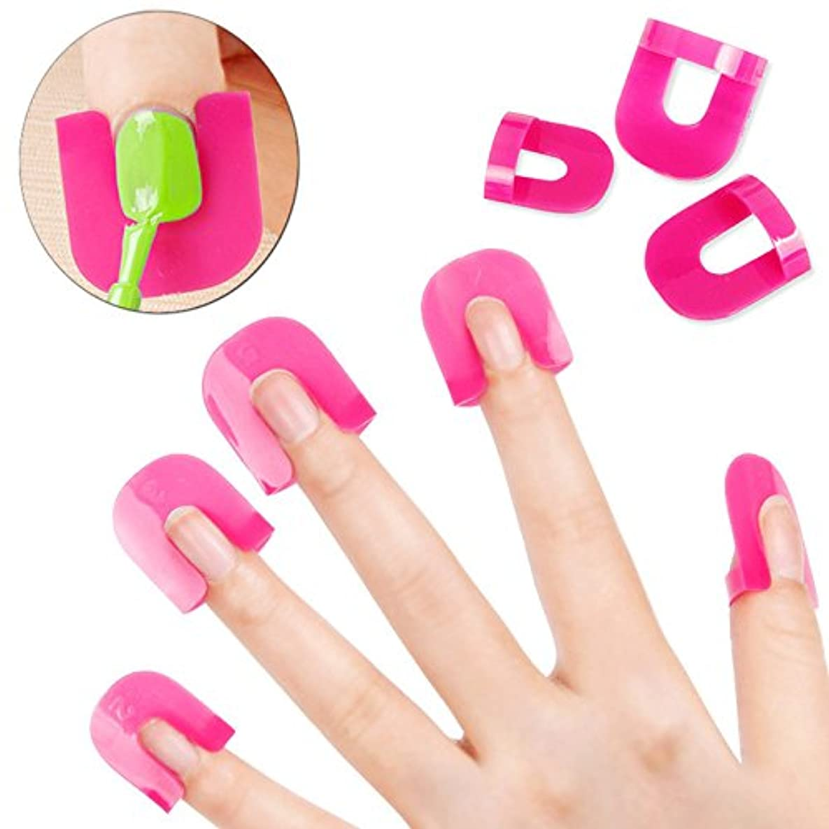 反響する災害放棄するNew 26PCS Professional French Nail Art Manicure Stickers Tips Finger Cover Polish Shield Protector Plastic Case...