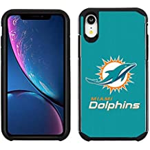 Prime Brands Group Cell Phone Case for Apple iPhone XR - NFL Licensed Miami Dolphins - Green Textured Back Cover on Black TPU Skin