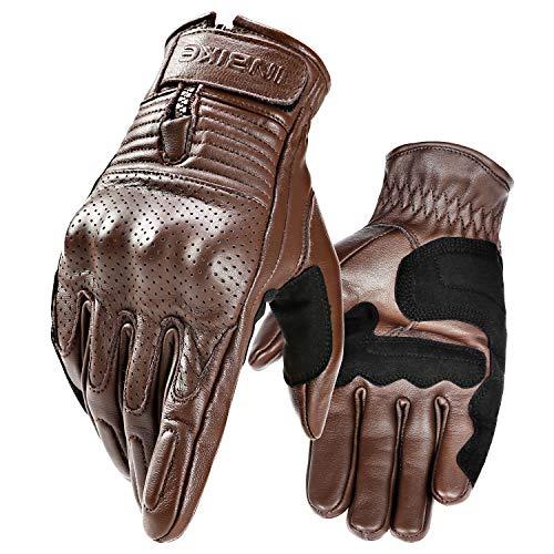 INBIKE(インバイク) バイクグローブ メンズ オートバイグローブ モーターバイク用手袋 ナックルカップ付き マジックテープ耐磨耗滑り止め付き 快適 ブラウン XL